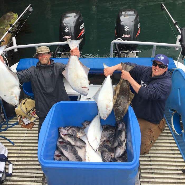 Kodiak Island Halibut and Rockfish with local fisherman Ben sporting Fish N' Chips Charters Hat