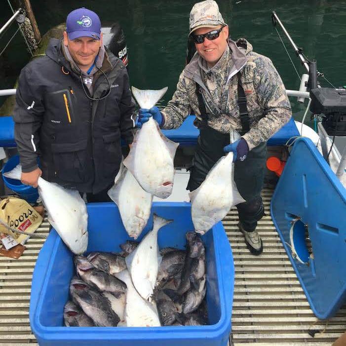 Cordoba Coolers Main Men with their delicious halibut - Fish N' Chips Charters - Kodiak Alaska