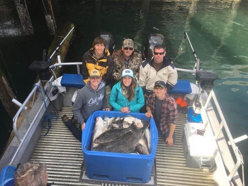 Kodiak fishing charter, caught halibut, king salmon, rockfish and pacific cod on Fish N' Chips Charters