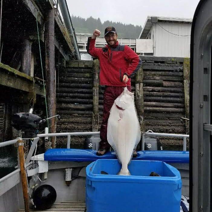 Kodiak Island Fishing Halibut one Happy Fisherman!