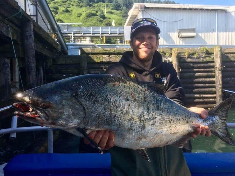 Rambling on the Rock Stigg with Record King Salmon caught on the best Kodiak Island Salmon Fishing Charter Fish N' Chips Charters